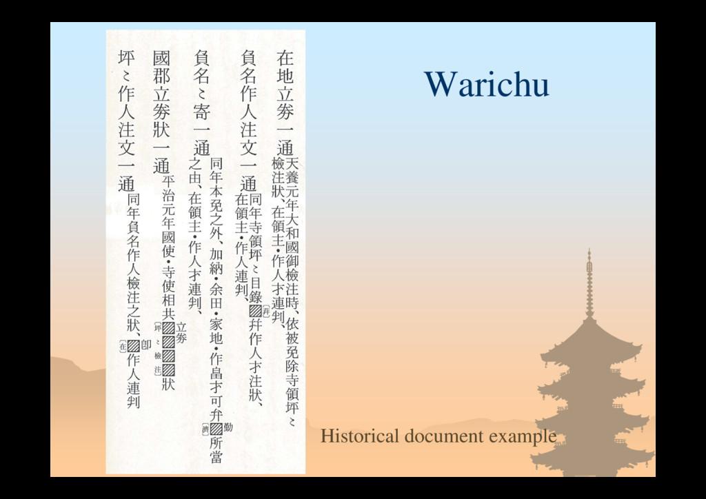 Warichu Historical document example