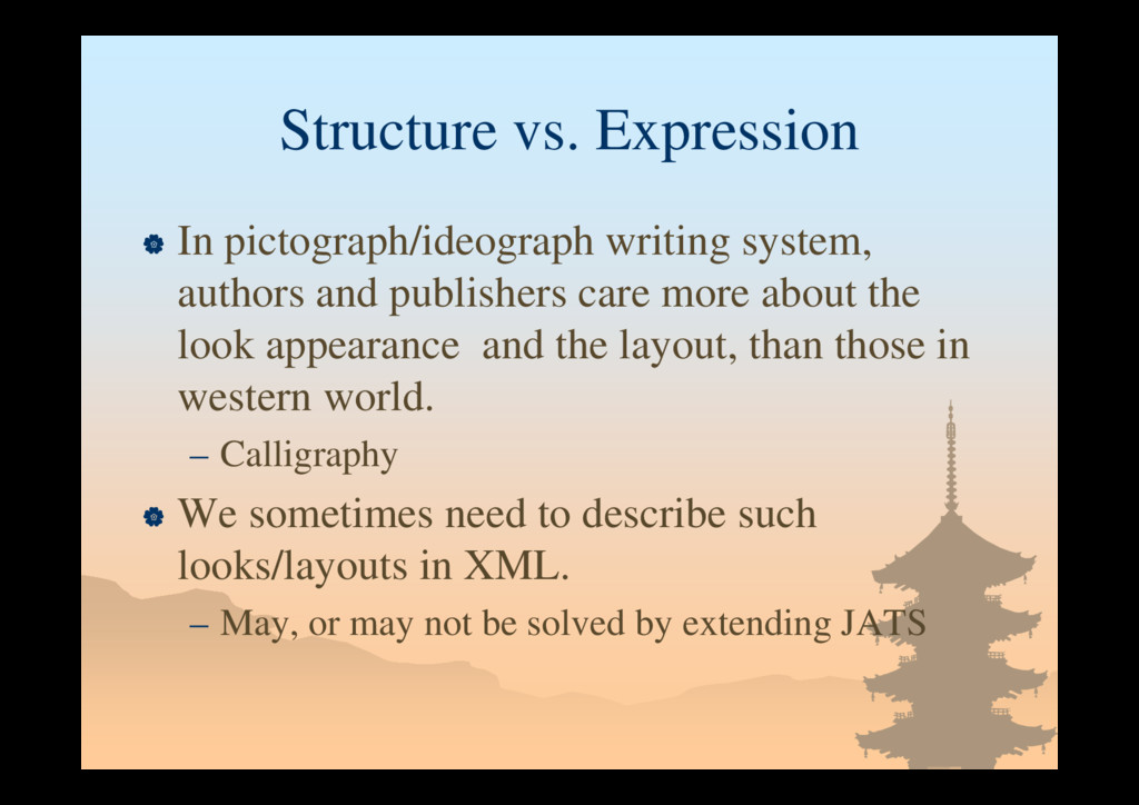 Structure vs. Expression  In pictograph/ideogr...
