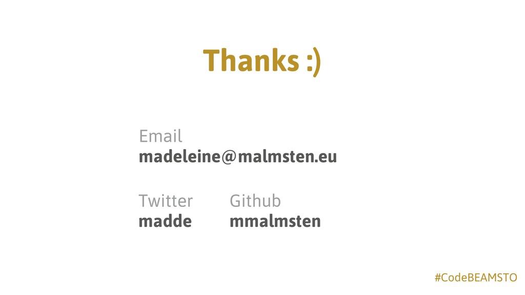 #CodeBEAMSTO Thanks :) Twitter madde Email ma...