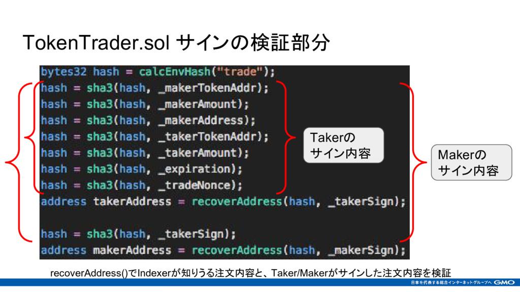 TokenTrader.sol サインの検証部分 Takerの サイン内容 Makerの サイ...