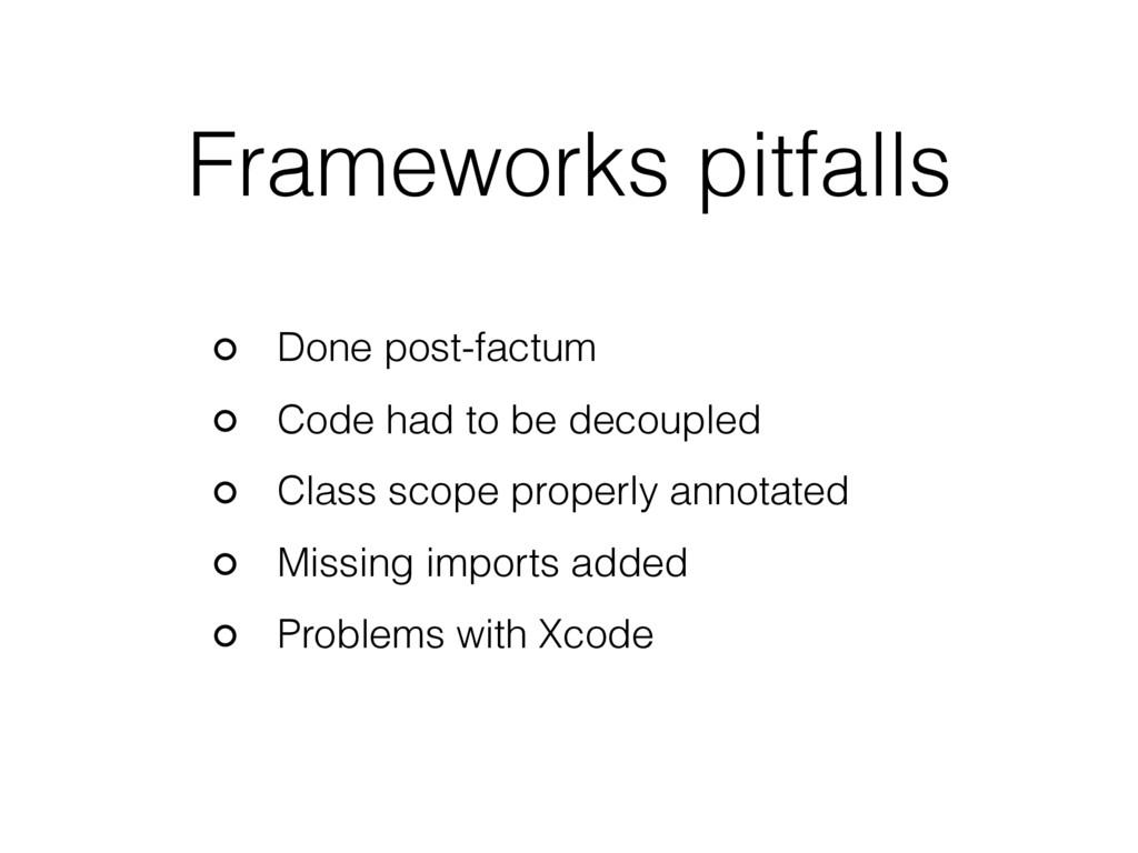Frameworks pitfalls Done post-factum Code had t...