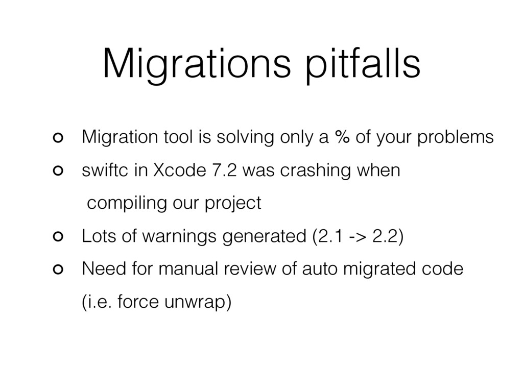 Migrations pitfalls Migration tool is solving o...