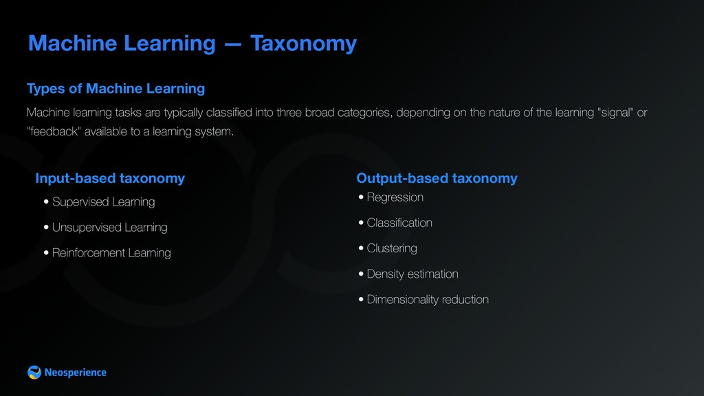 Machine Learning — Taxonomy Input-based taxonom...
