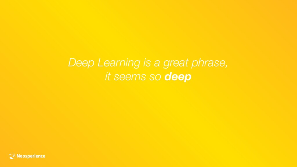 Deep Learning is a great phrase, it seems so de...