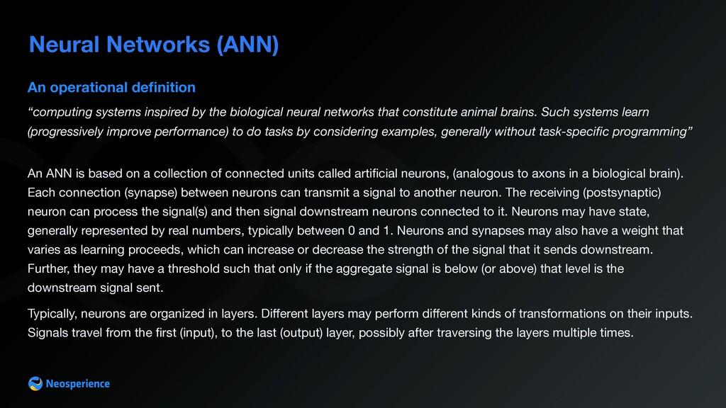 Neural Networks (ANN) An operational definition ...