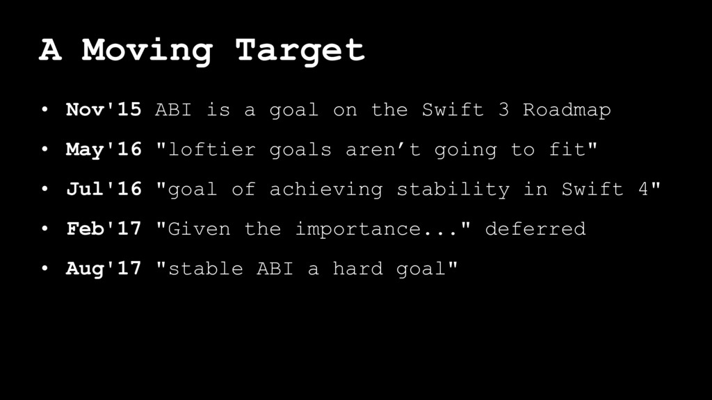 A Moving Target • Nov'15 ABI is a goal on the S...