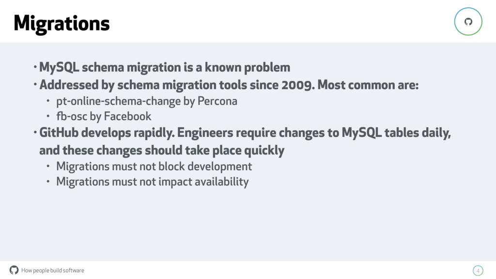 How people build software ! 4 ! • MySQL schema ...