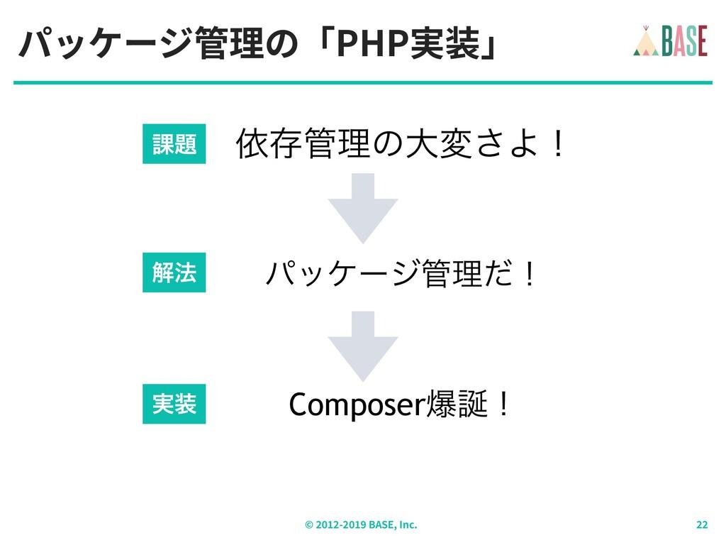 パッケージ管理の「PHP実装」 © - BASE, Inc. ґଘཧͷେม͞Αʂ ύοέʔδ...