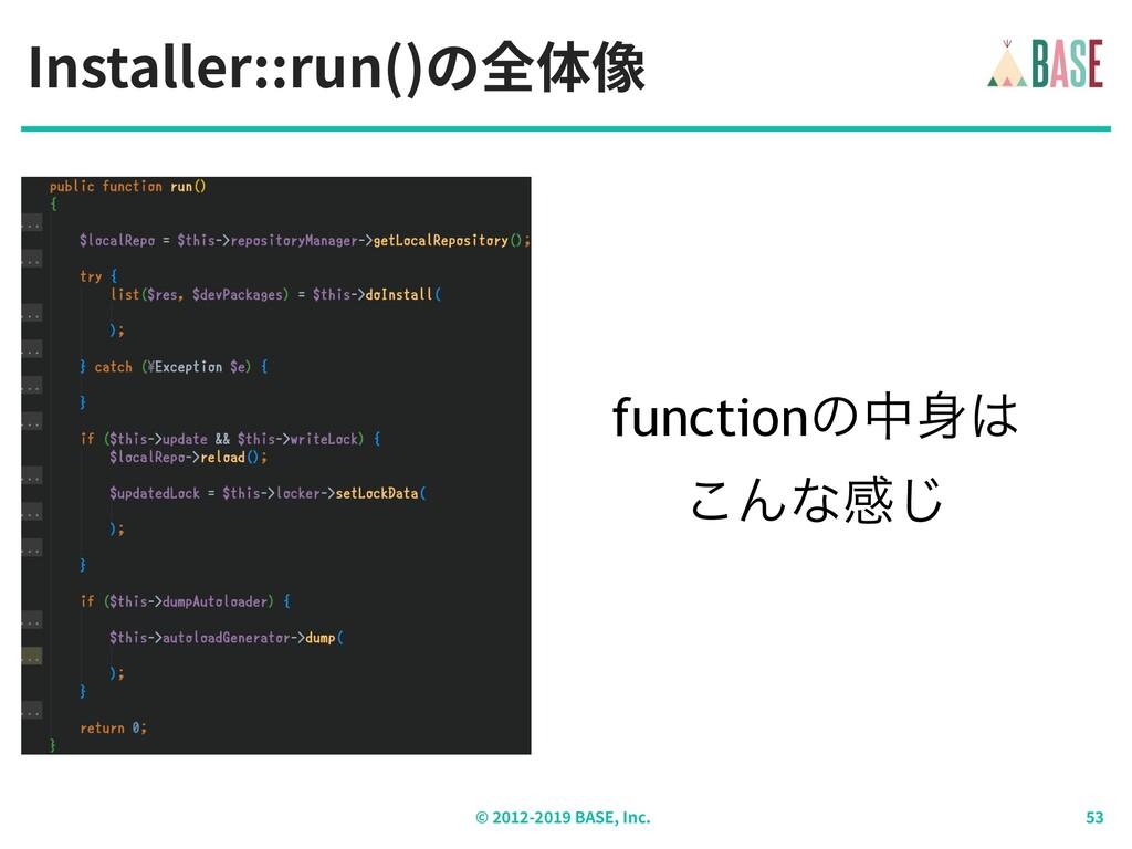 Installer::run()の全体像 © - BASE, Inc. functionͷத...