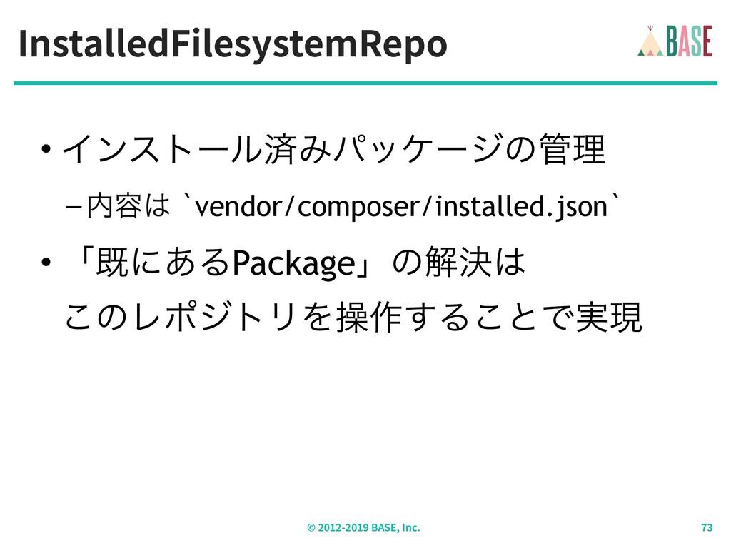 InstalledFilesystemRepo © - BASE, Inc. • Πϯετʔϧ...
