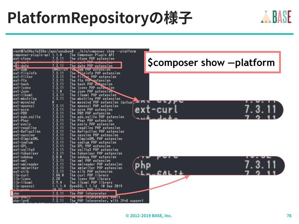 PlatformRepositoryの様⼦ © - BASE, Inc. $composer ...