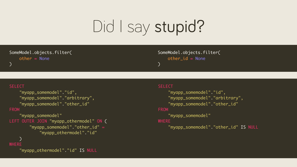 Did I say stupid? SomeModel.objects.filter( oth...