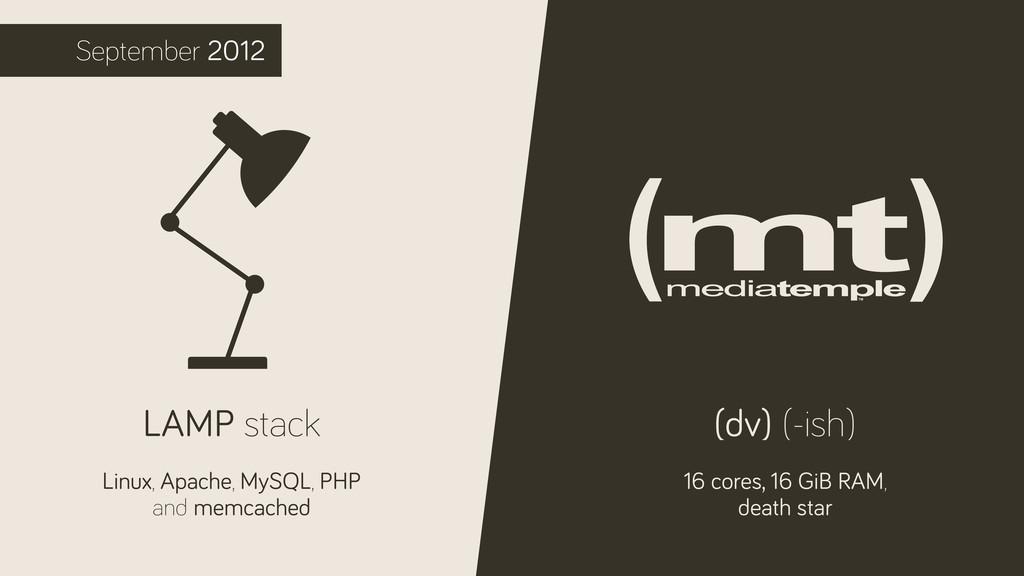 September 2012 LAMP stack Linux, Apache, MySQL,...