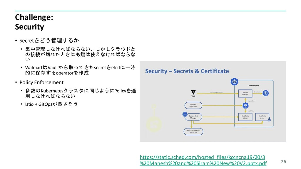 Challenge: Security • Secretをどう管理するか • 集中管理しなけれ...