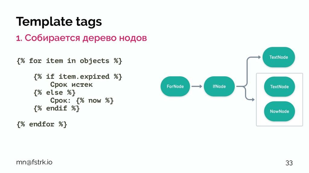 Template tags 1. Собирается дерево нодов {% for...