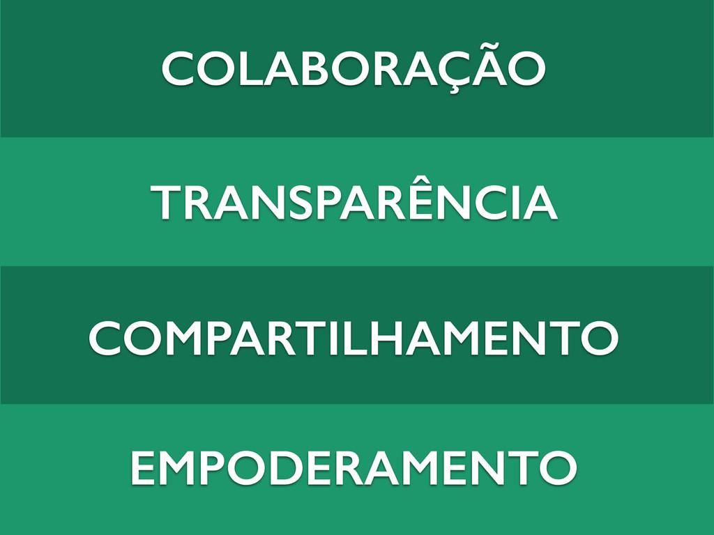 COLABORAÇÃO TRANSPARÊNCIA COMPARTILHAMENTO EMPO...