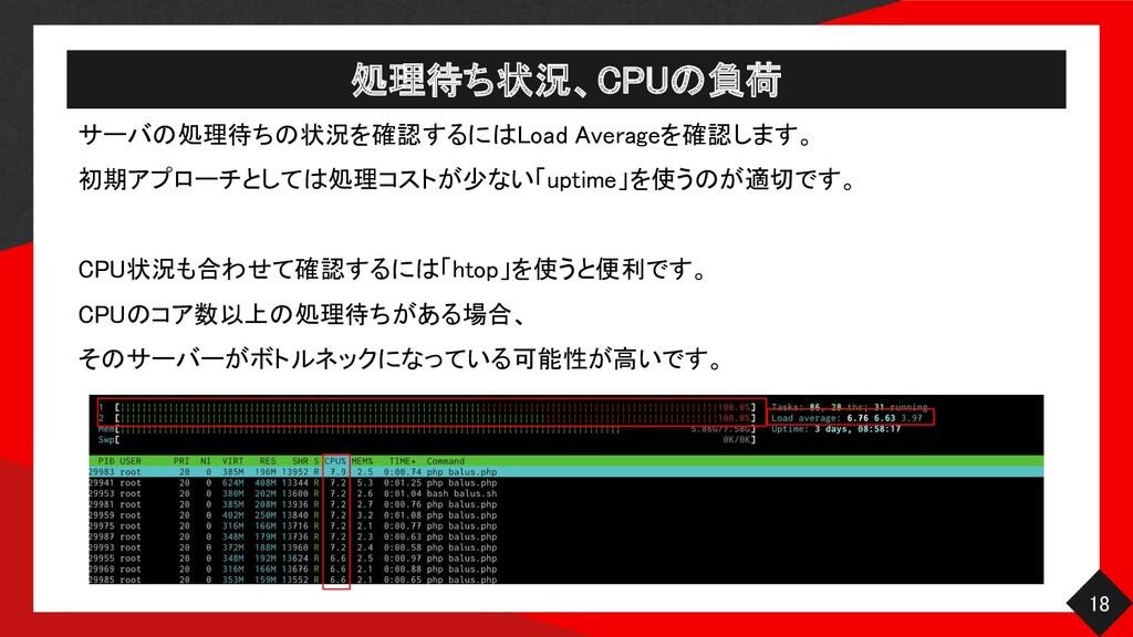 処理待ち状況、CPUの負荷 18 サーバの処理待ちの状況を確認するにはLoad Avera...