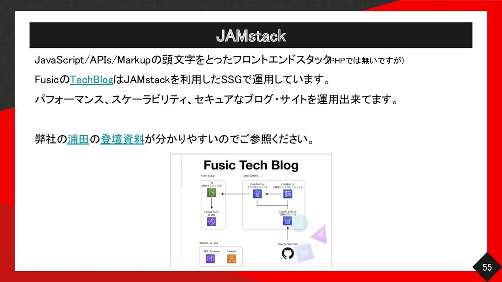 JAMstack 55 JavaScript/APIs/Markupの頭文字をとったフロン...