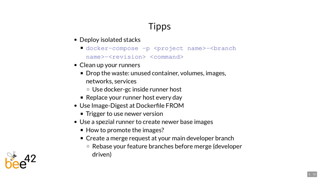 Tipps Deploy isolated stacks docker-compose -p ...