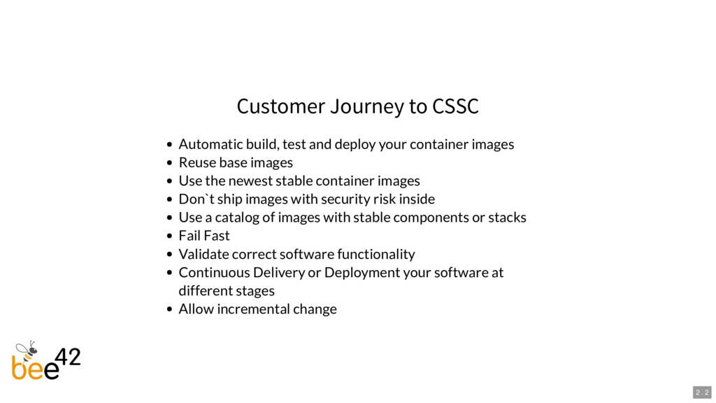 Customer Journey to CSSC Automatic build, test ...