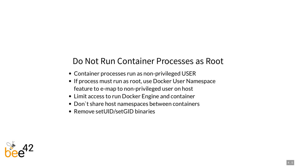 Do Not Run Container Processes as Root Containe...
