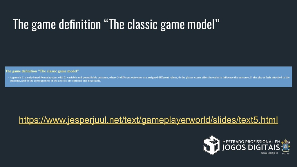 "The game definition ""The classic game model"" htt..."
