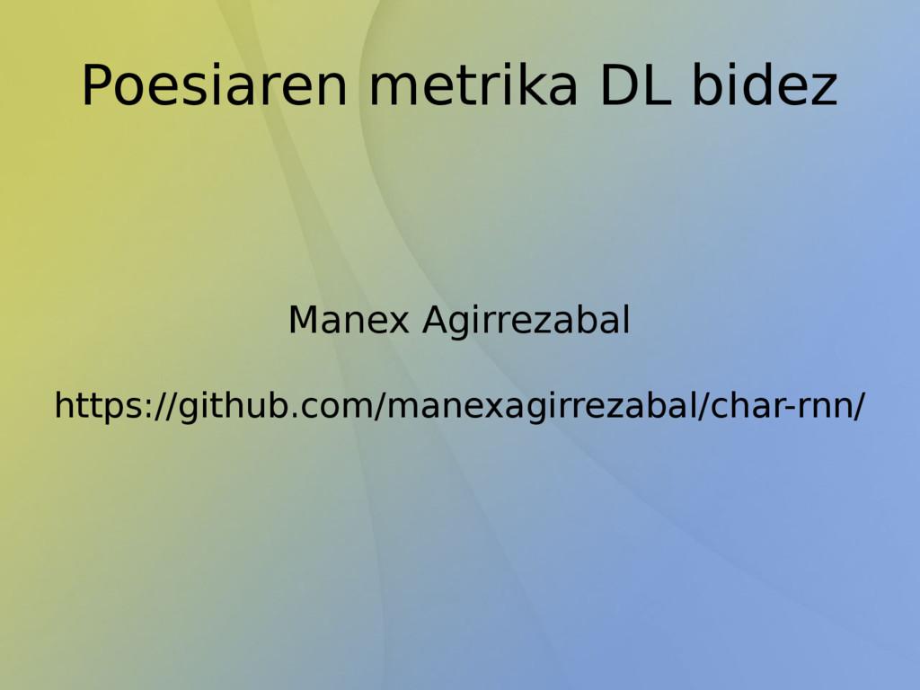Poesiaren metrika DL bidez Manex Agirrezabal ht...