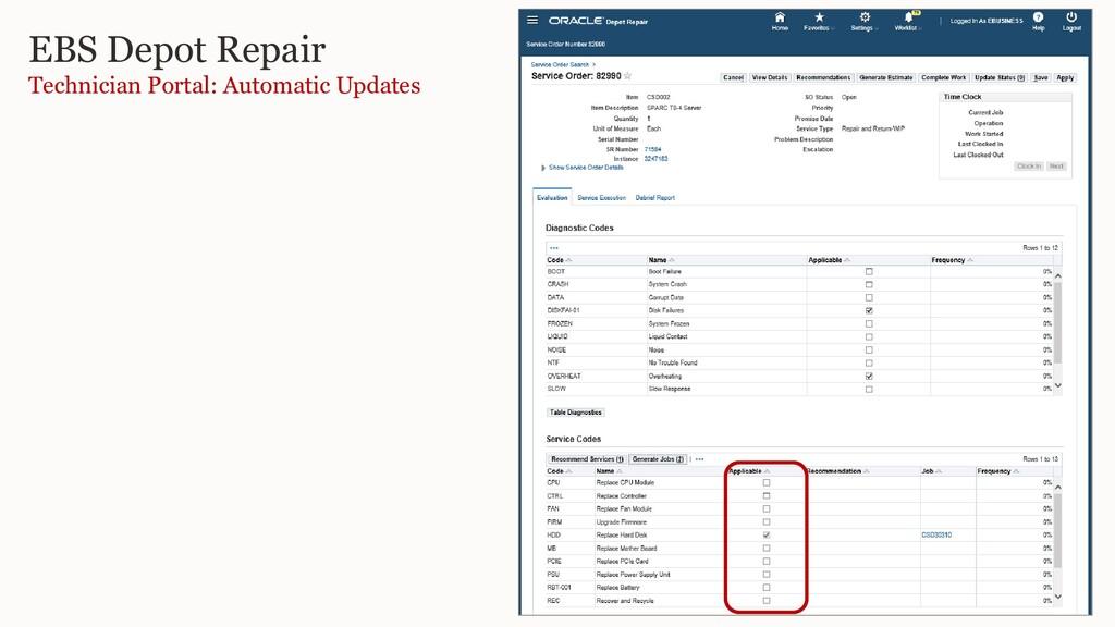 EBS Depot Repair Technician Portal: Automatic U...