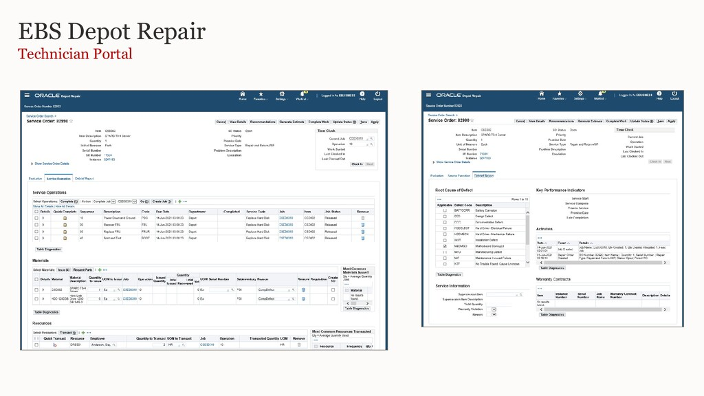 EBS Depot Repair Technician Portal