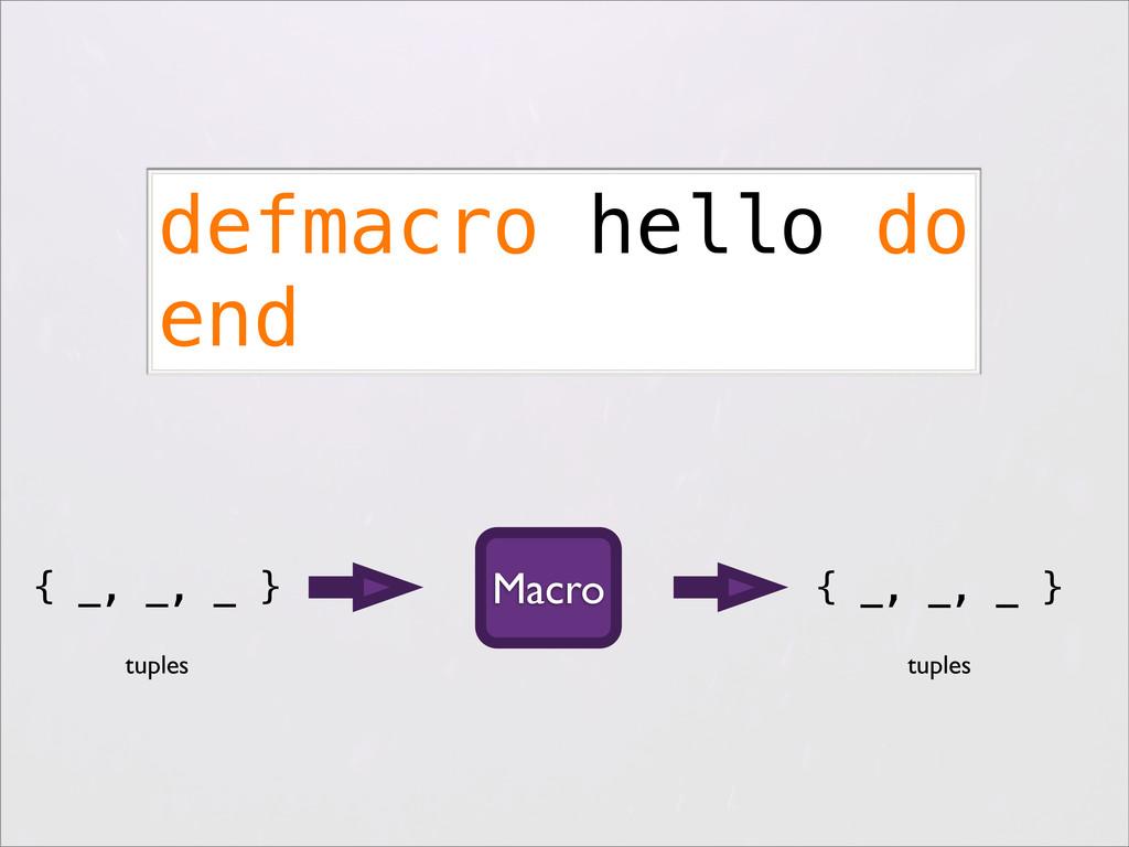 { _, _, _ } defmacro hello do end Macro tuples ...