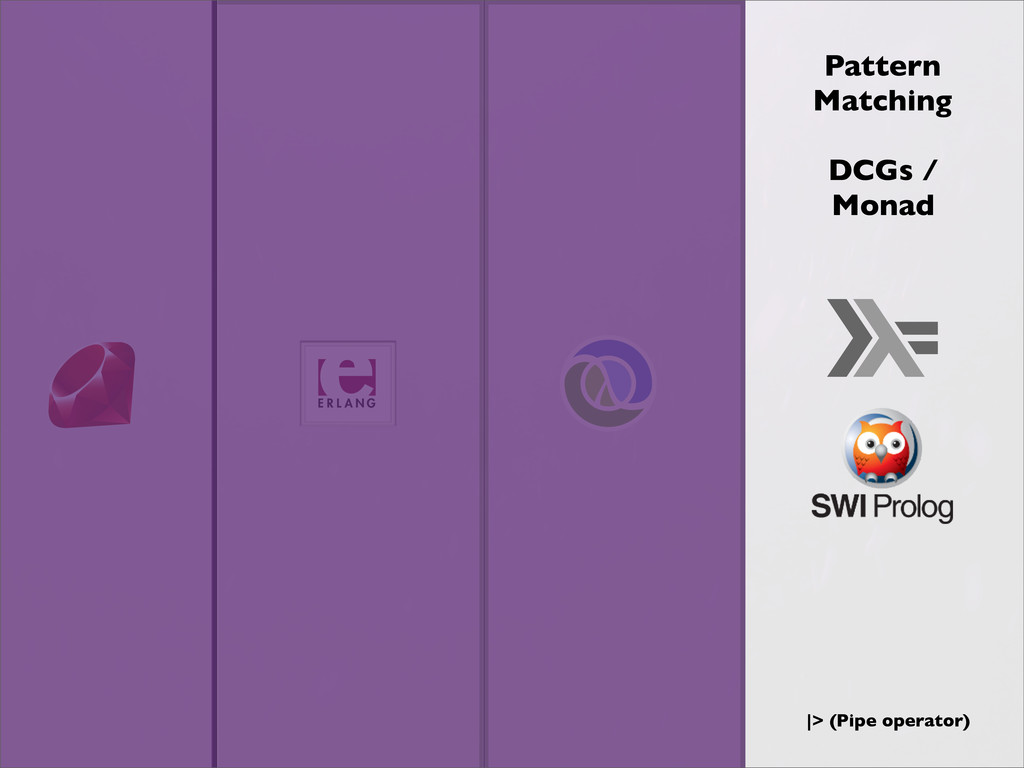 Pattern Matching |> (Pipe operator) DCGs / Monad
