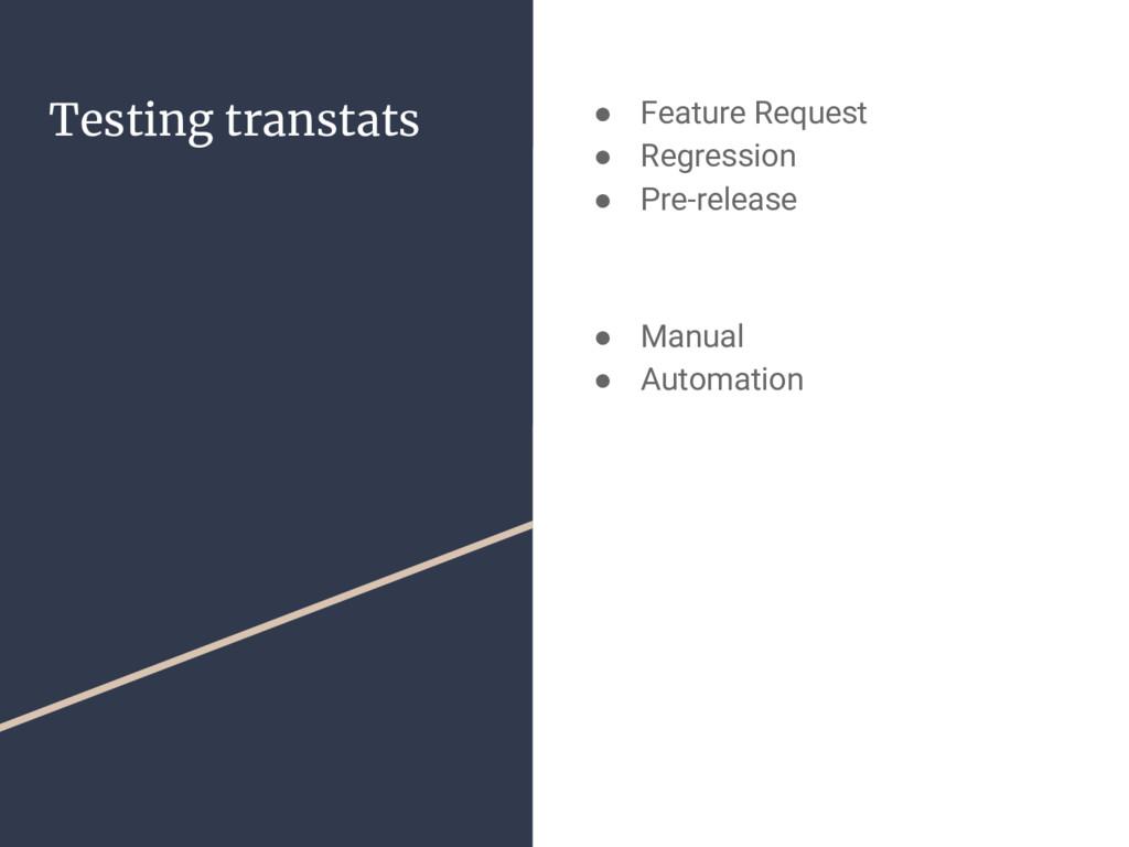 Testing transtats ● Feature Request ● Regressio...