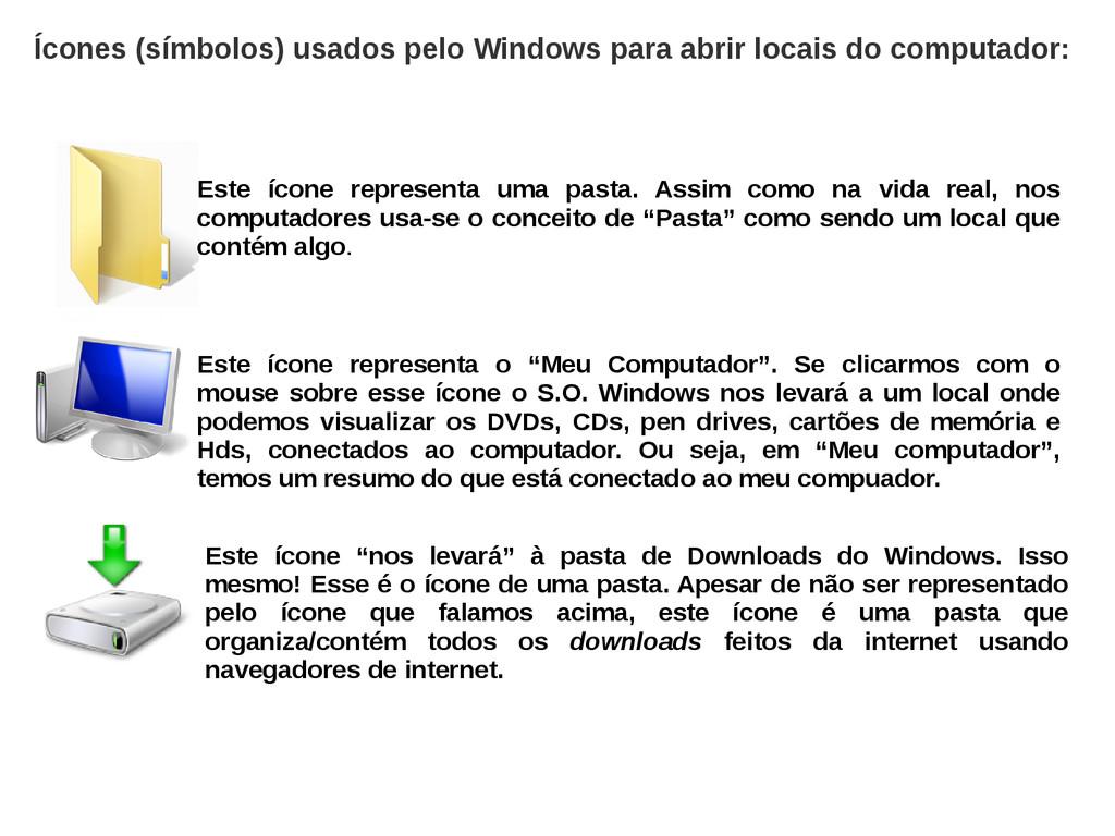 Ícones (símbolos) usados pelo Windows para abri...