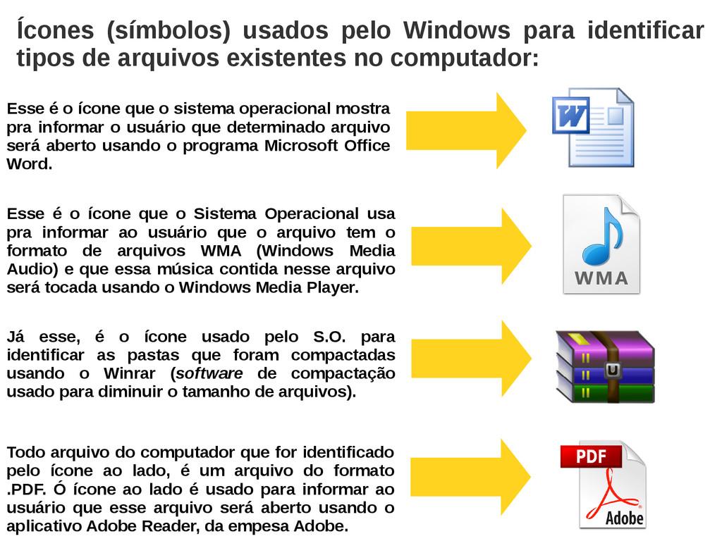 Ícones (símbolos) usados pelo Windows para iden...