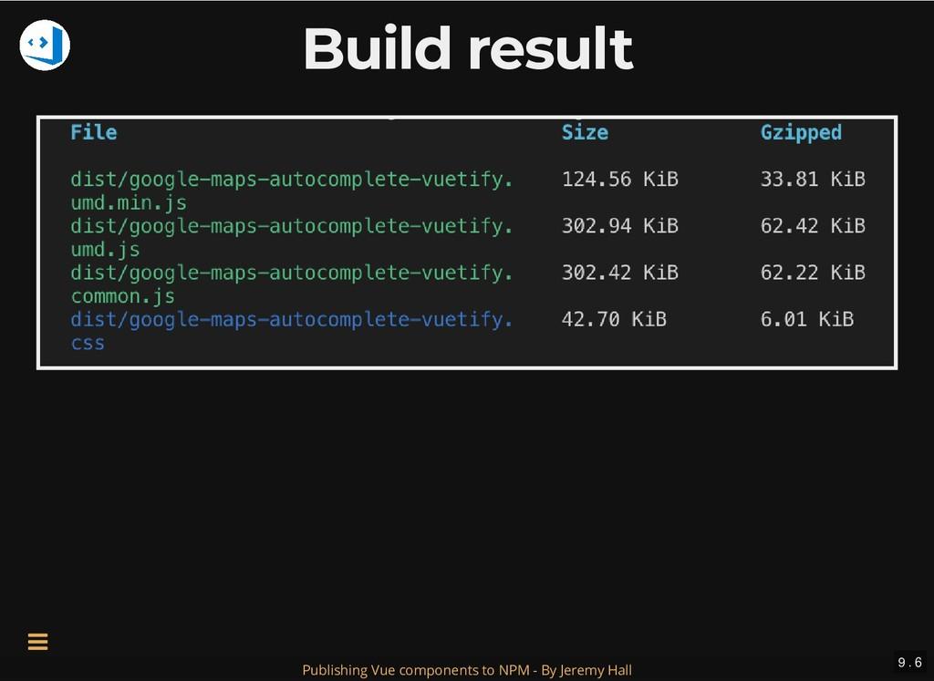 Build result Build result 9 . 6 Publishing Vue ...