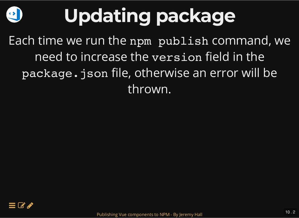 Updating package Updating package Each time we ...