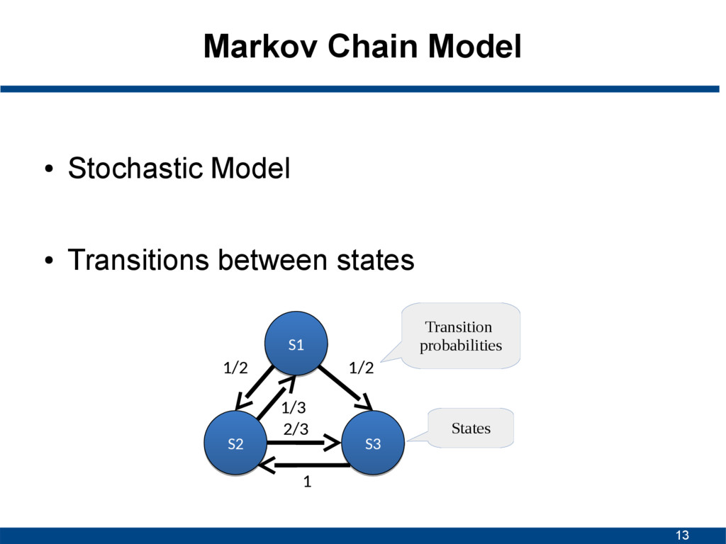 13 Markov Chain Model ● Stochastic Model ● Tran...