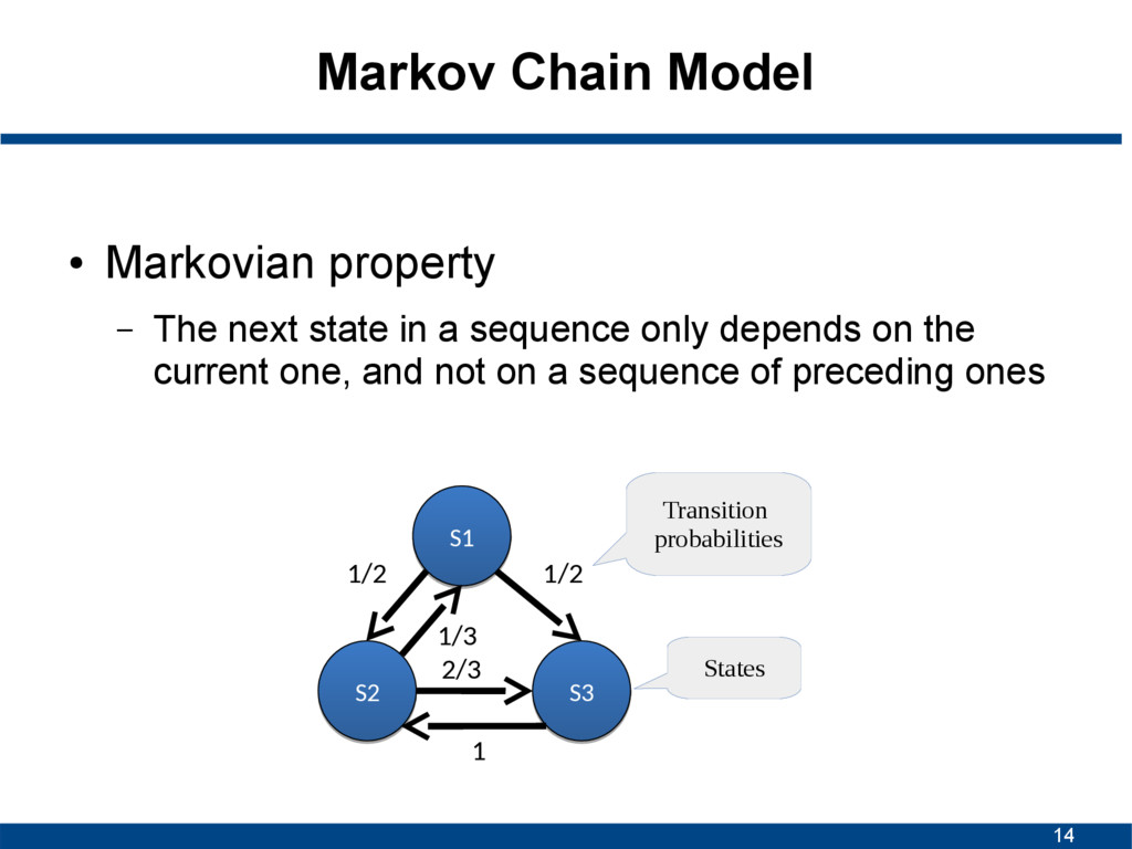 14 Markov Chain Model ● Markovian property – Th...