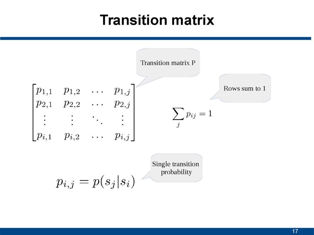 17 Transition matrix Rows sum to 1 Transition m...
