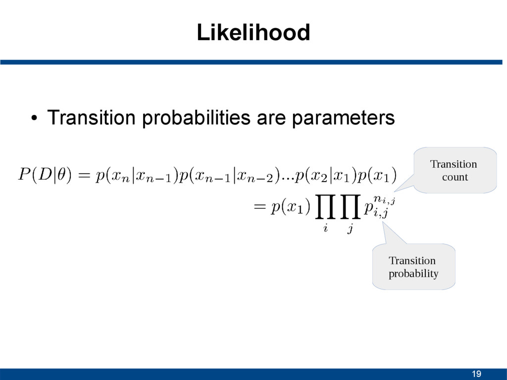 19 Likelihood ● Transition probabilities are pa...