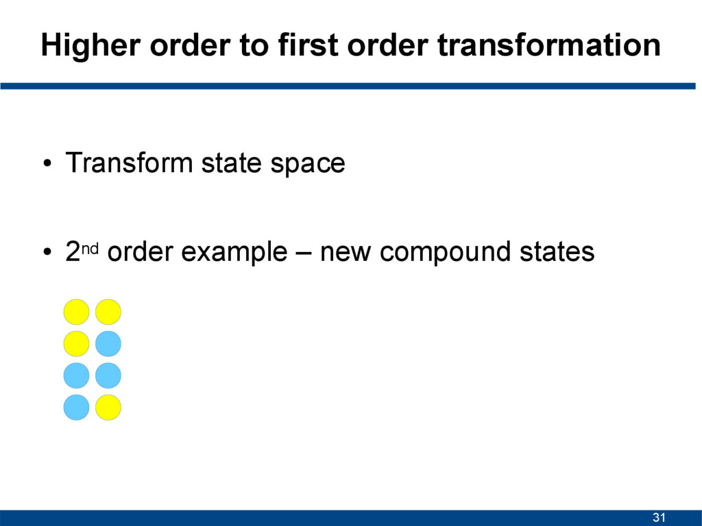 31 Higher order to first order transformation ●...