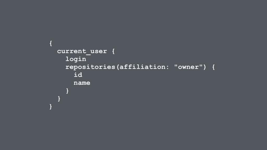 { current_user { login repositories(affiliation...