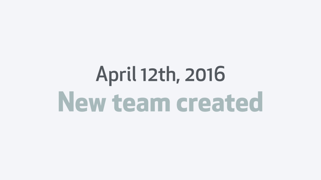 April 12th, 2016 New team created