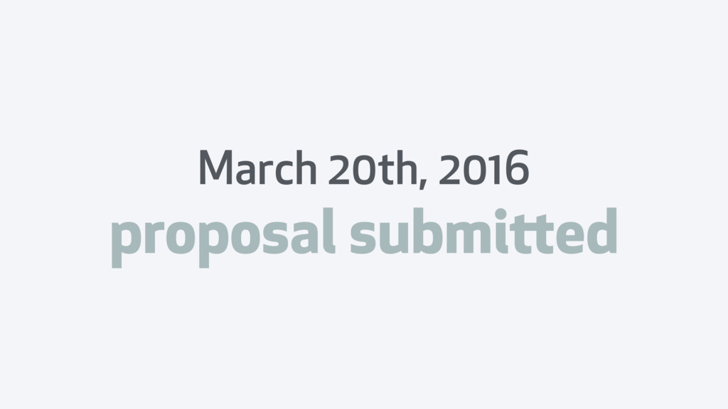 March 20th, 2016 proposal submitted