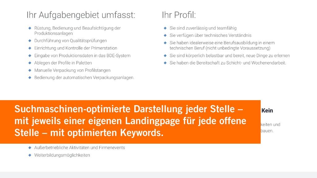 Suchmaschinen-optimierte Darstellung jeder Stel...