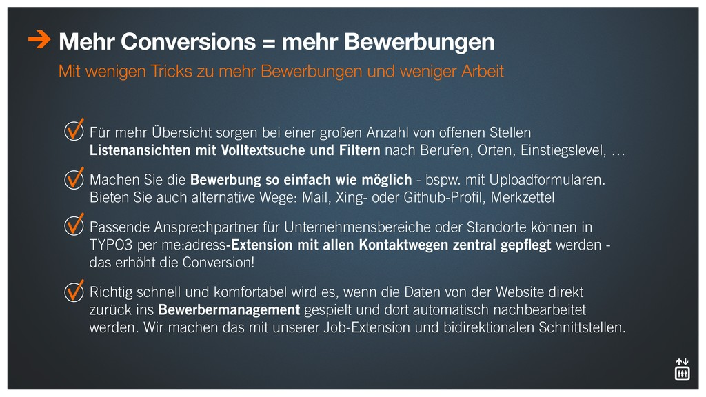 Mehr Conversions = mehr Bewerbungen Mit wenigen...