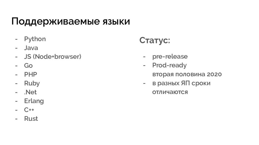 Поддерживаемые языки - Python - Java - JS (Node...