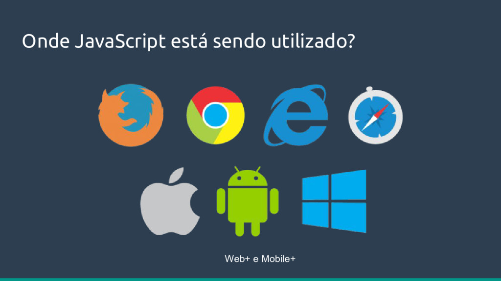 Onde JavaScript está sendo utilizado? Web+ e Mo...