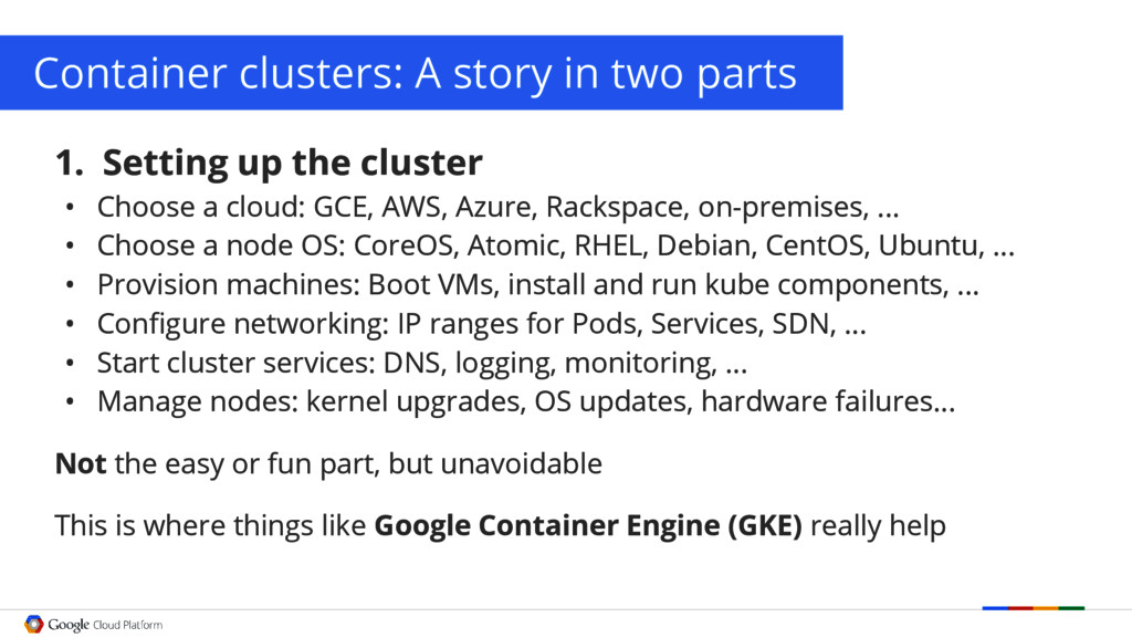 Container clusters: A story in two parts 1. Set...