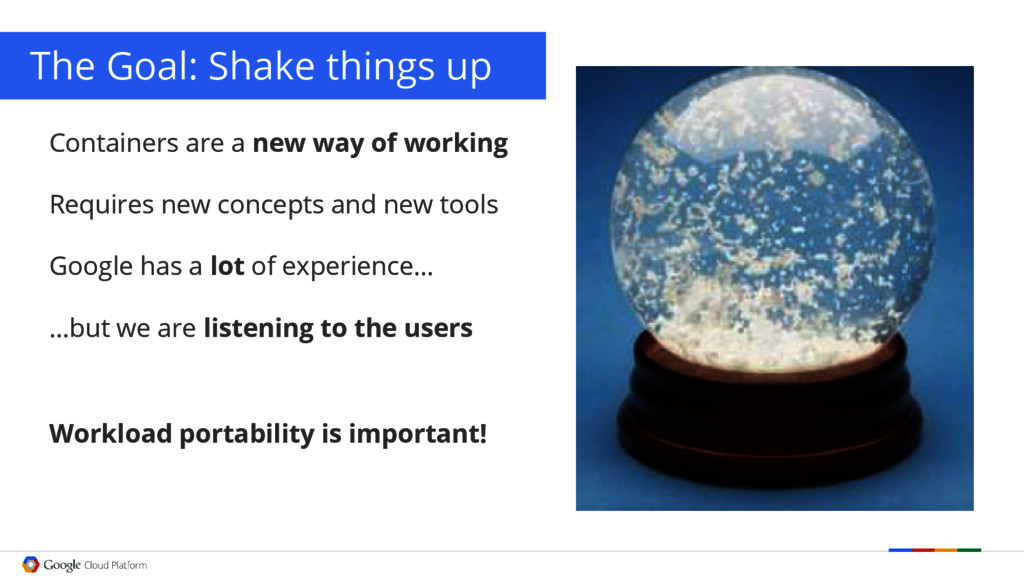 The Goal: Shake things up Containers are a new ...
